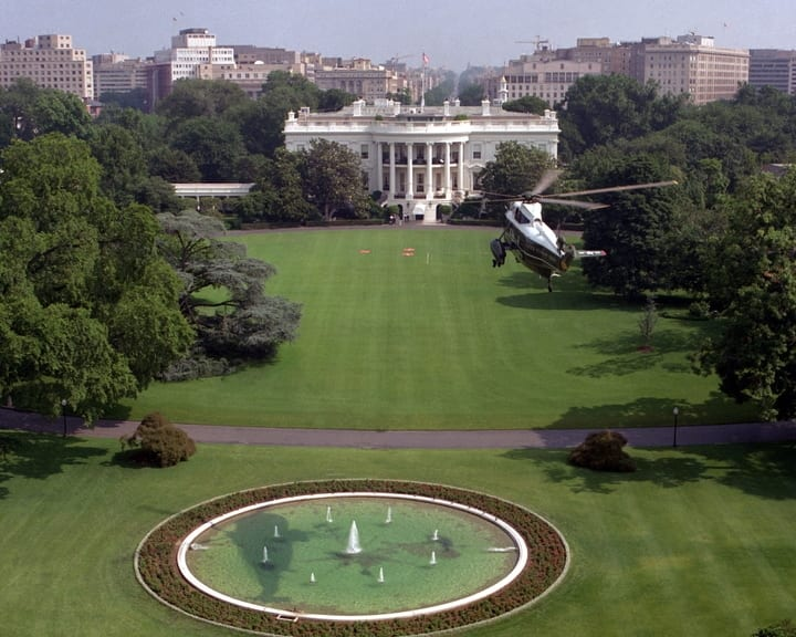 Helicopter flying above the White House