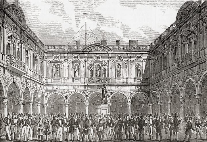 Painting of the inner court of the second Royal Exchange