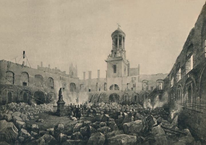 Painting of the ruins of the Royal Exchange after the second fire