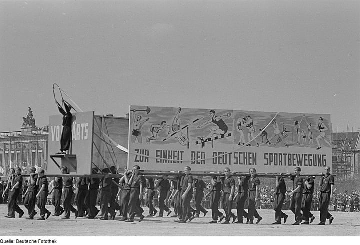 East German parade with signs