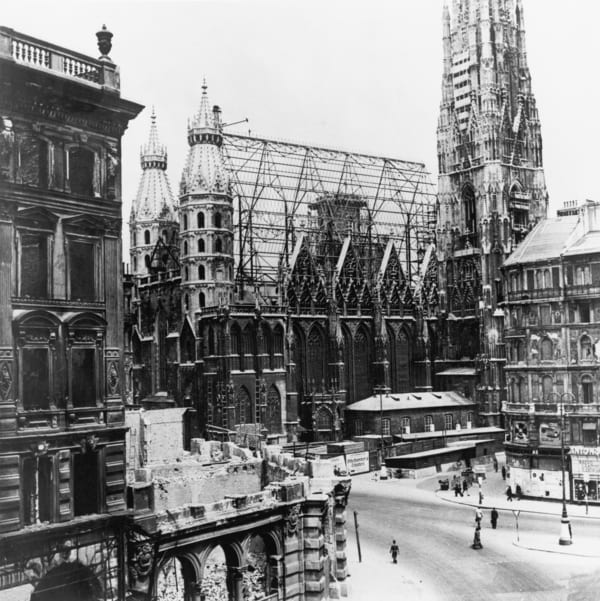 Damaged St. Stephan's Cathedral after World War II