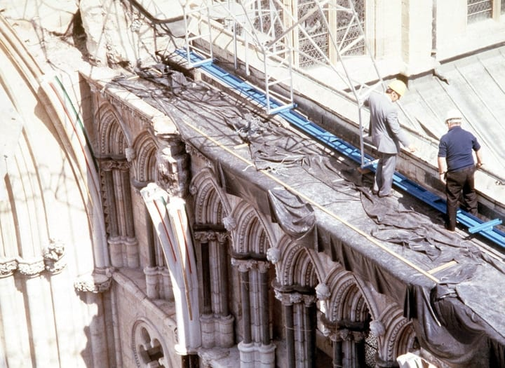 People repairing York Minster