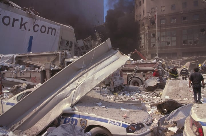 Rubble at ground zero after the September 11, 2001 attack