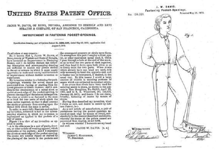 May 20, 1873: Levi Strauss and Jacob Davis acquire blue jeans patent