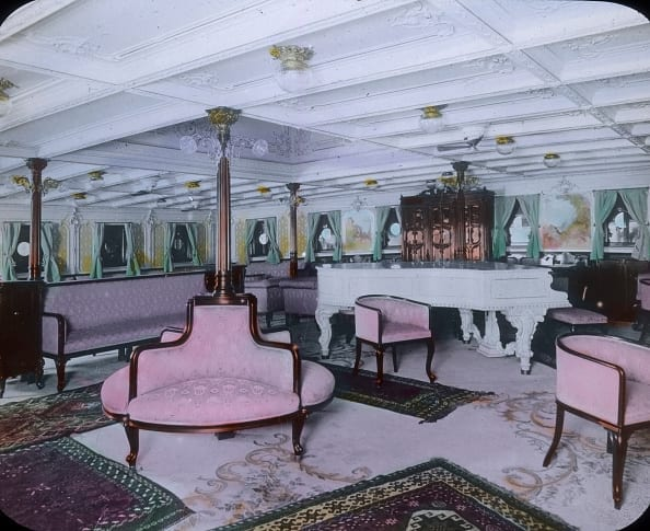 Luxury lounge on board of the Titanic.