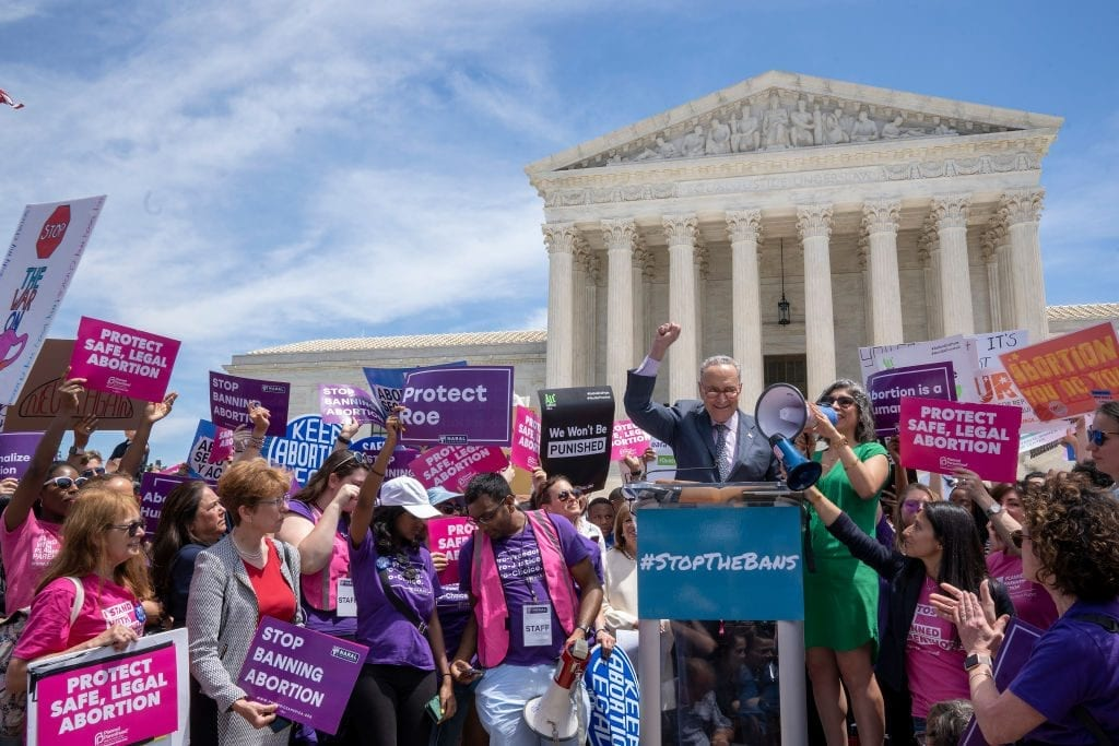 Chuck Schumer speaks out to defend abortion rights/Roe v. Wade decision.