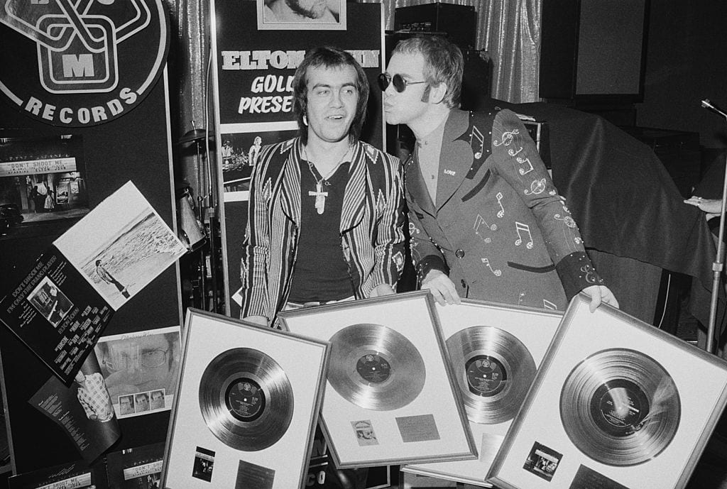 Gold Disc Recipients Bernie Taupin and Elton John