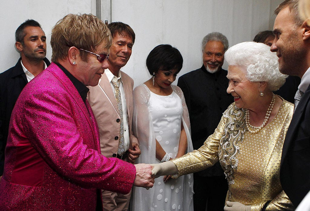 Queen Elizabeth II meets Sir Elton John