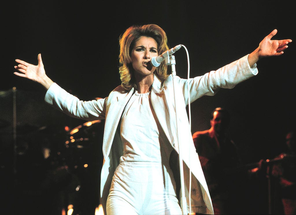 Celine Dion performing at Shoreline Amphitheater