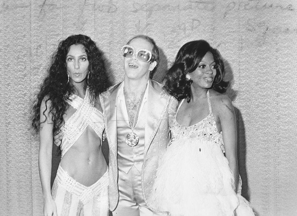 Elton John with Cher and Diana Ross