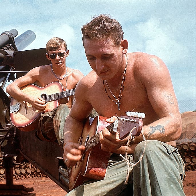 guitar playing, base, military, Vietnam