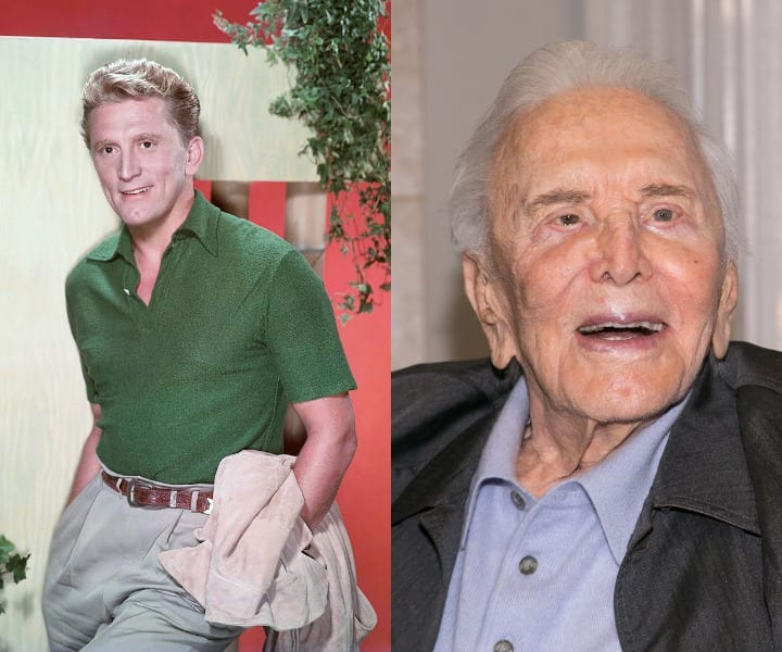 Kirk Douglas in his youth and current