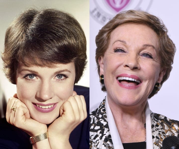 Julie Andrews in her youth and now