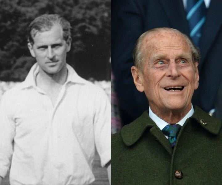 Prince Phillip in his youth and now