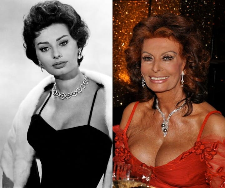 Sophia Loren in her youth and at present
