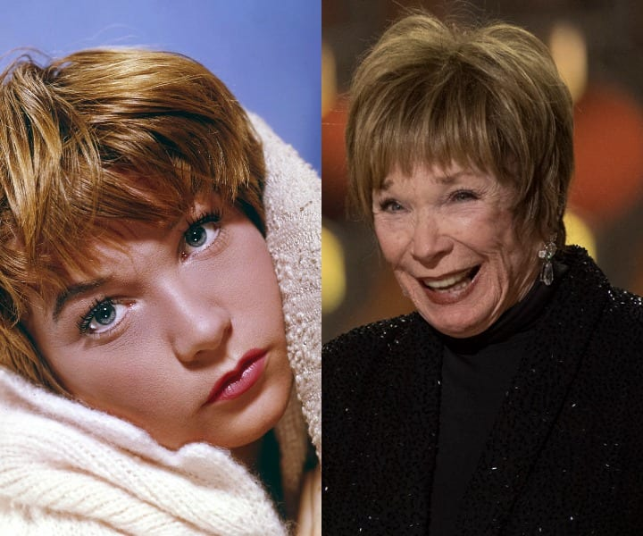 Shirley MacLaine in her youth and now