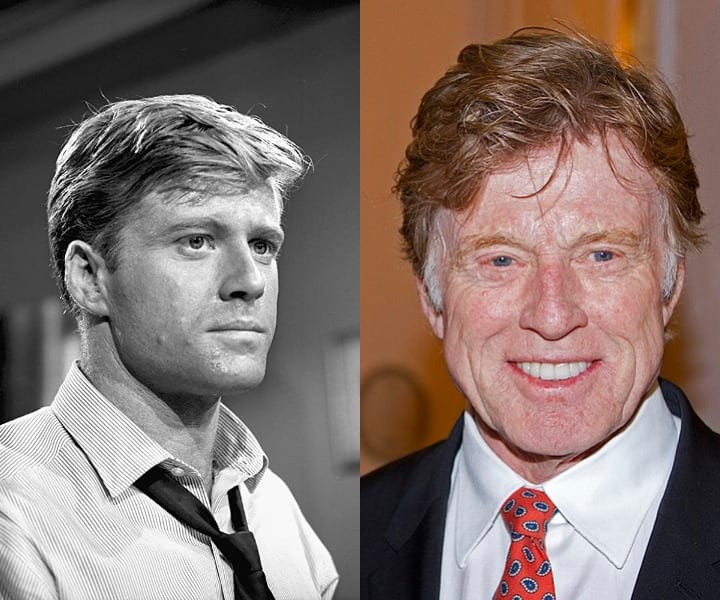 Robert Redford in his youth and current