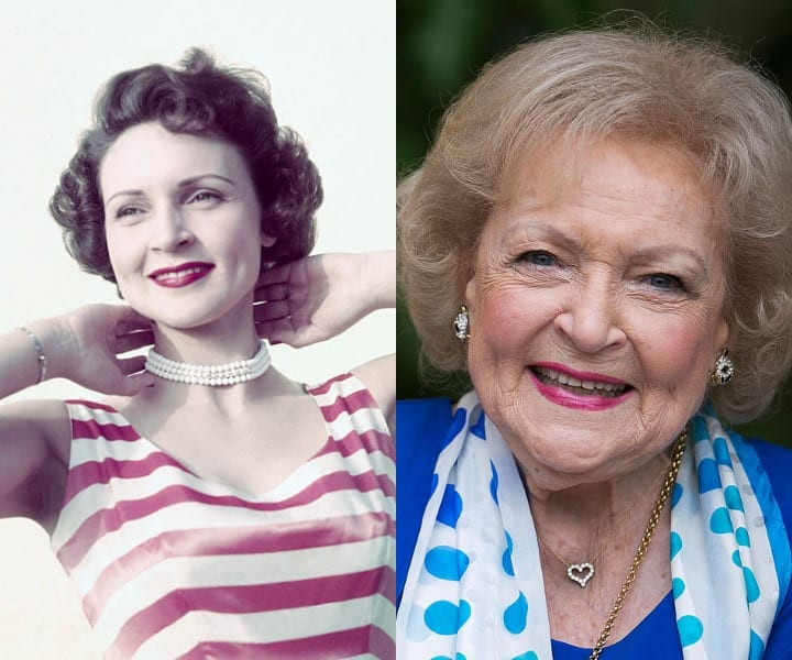 Betty White in her youth and at present