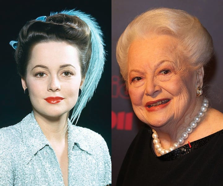 Olivia de Havilland in her youth and current