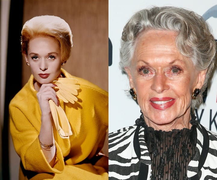 Tippi Hedren in her youth and present day