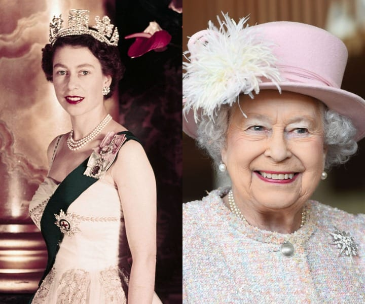 The Queen of England in her youth and at present
