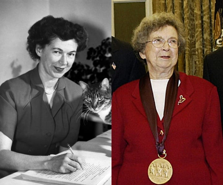 Beverly Cleary writing and accepting award