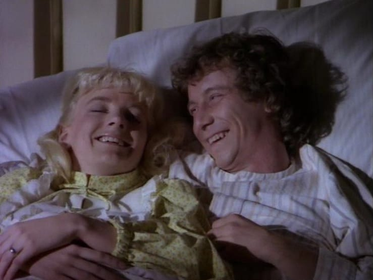 Alison Arngrim and Steve Tracy in Little House on the Prairie