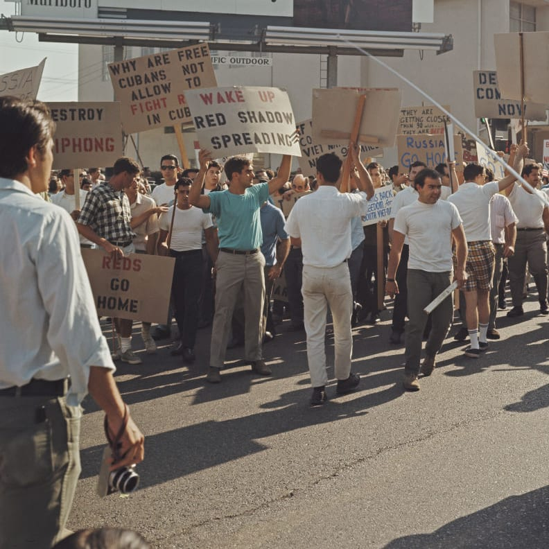 A protest against the Vietnam War clashes with counter-protestors from Cuba in Lafayette Park, Los Angeles, 6th August 1967
