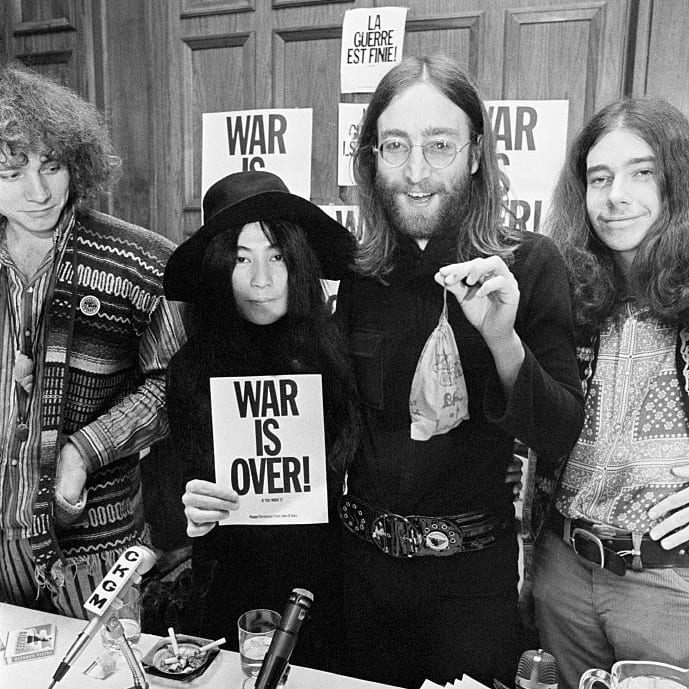 Musician John Lennon and wife Yoko Ono at a Vietnam War peace conference in Montreal in 1969