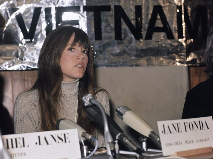 Jane Fonda speaks in Nijmegen, Vietnam on Jan. 18, 1975