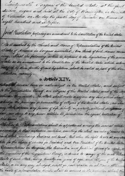 The 14th Amendment to US Constitution