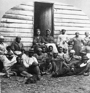 Runaway, freed slaves considered contrabands gather in the North after escaping slavery