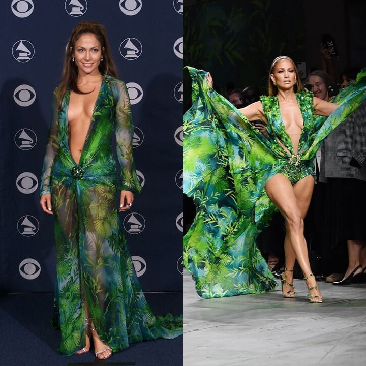 Jennifer lopez green versace dress