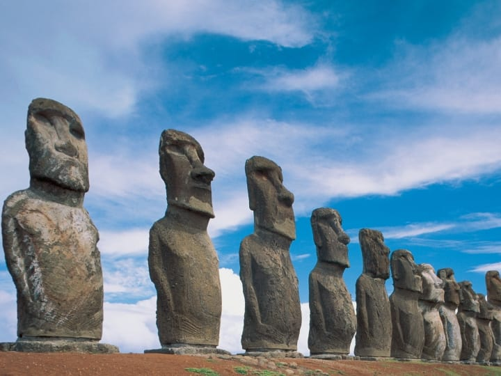 Moai statues in a row, Ahu Tongariki, Easter Island, Chile