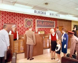 vintage-air-travel-stewardess-flight-attendant-glamorous-check-in-Alaska-Airlines