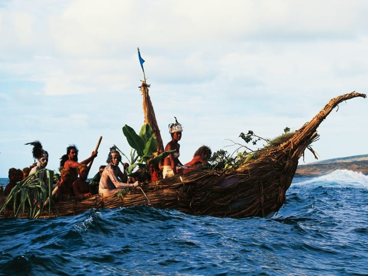 Canoing competition during the Tapati religious festival, Easter island or Rapa Nui.