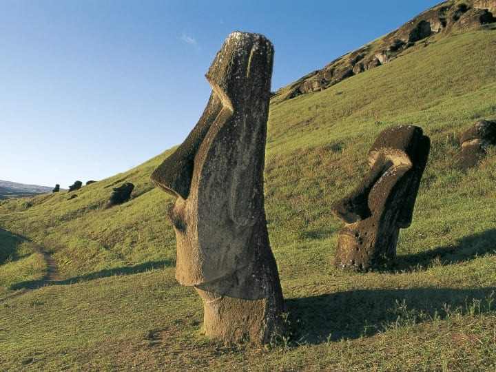 Chile, Easter Island, Rapa-Nui National Park (UNESCO World Heritage List, 1995). Rano Raraku crater, Moais (megalithic anthropomorphic statues)