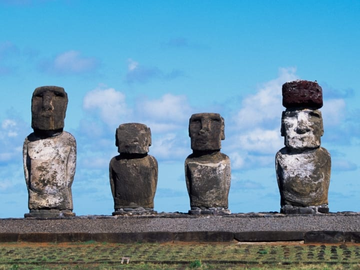 Moai (anthropomorphic monolith sculpture), Ahu Tongariki, Rapa-Nui National Park (UNESCO World Heritage List, 1995), Easter Island, Chile.
