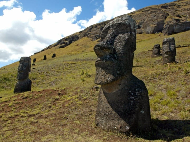 Picture of some of the 390 abandoned huge statues (moais in Rapa Nui language), in the hillside of the Rano Raraku volcano in Easter Island, 3700 km off the coast of Chile, 12 February 2005. The Chilean island, located in the Polynesian archipielago, has many archeological sites and its Rapa Nui National Park is included on UNESCO's World Heritage Site list since 1995.