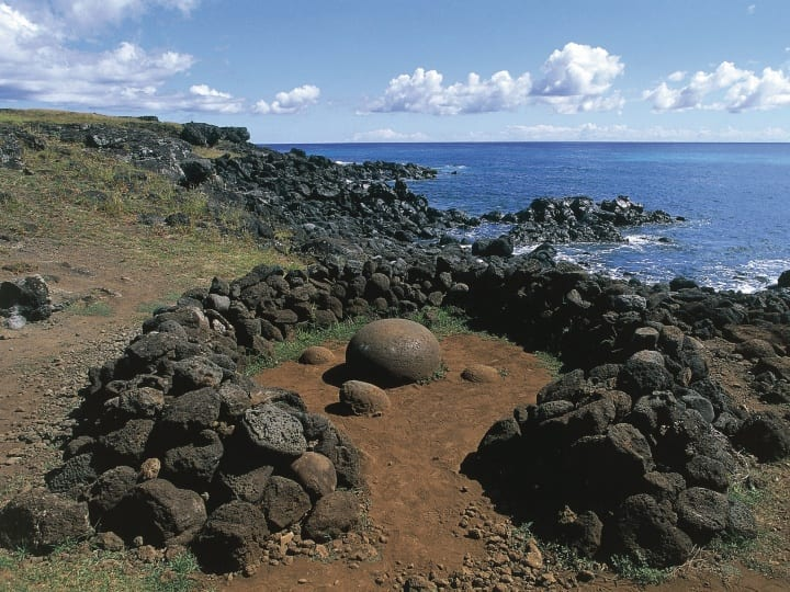 Chile, Easter Island, Rapa-Nui National Park (UNESCO World Heritage List, 1995), vicinity of Ahu Te Pito Kura, Te Pito O Te Henua stone (The navel of world)