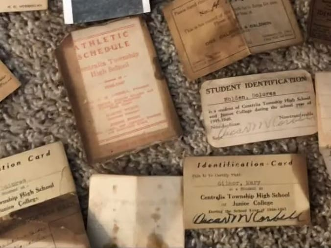 ID cards, wallet contents, old identification cards