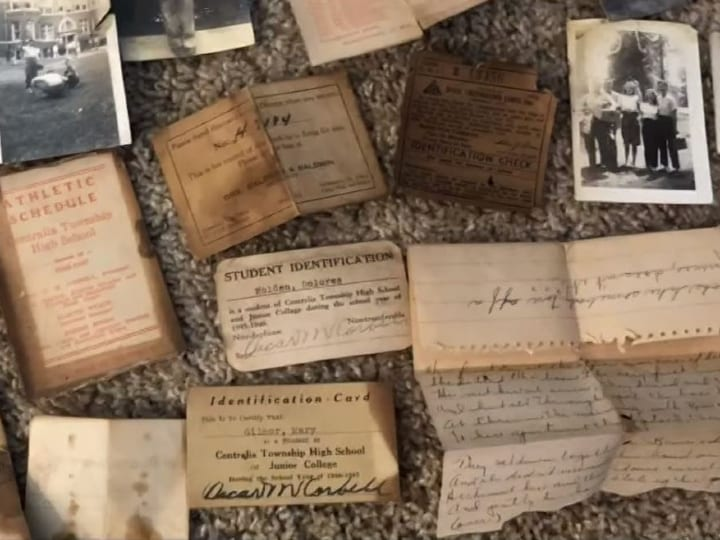 notes and pictures, ID cards, mysteries