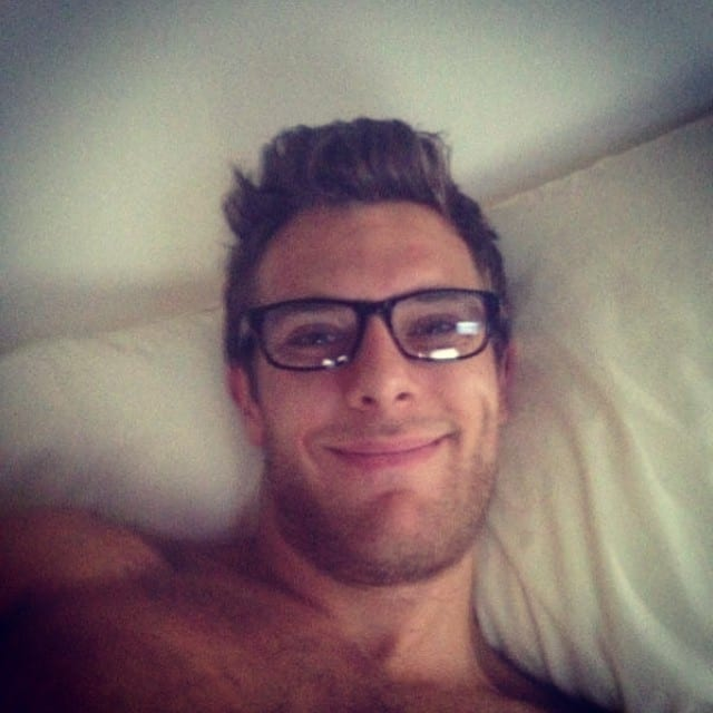 smile, laying down, glasses