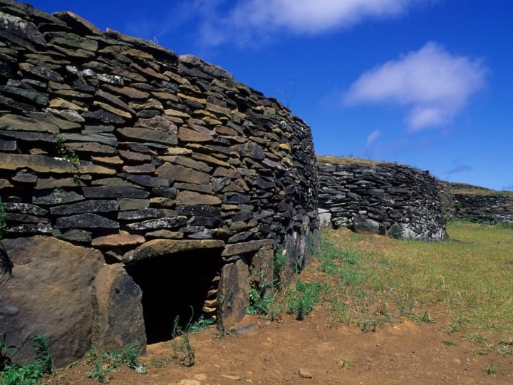 Chile, Easter Island, Ceremonial Village Of Orongo, Stone Houses.