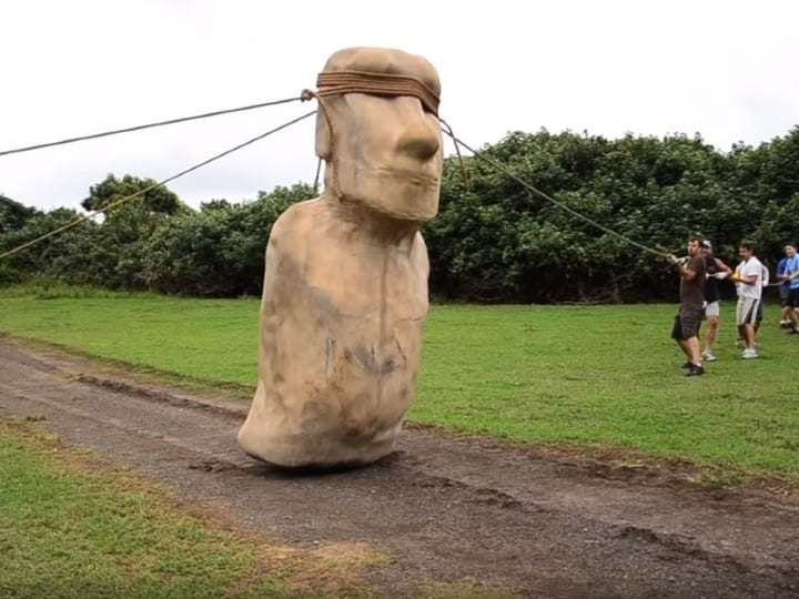 walking moai, moving statue, walking