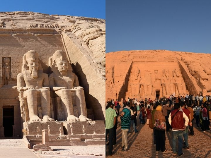 Tourists gather outside the temple of Abu Simbel, south of Aswan in upper Egypt, to witness the sun illuminate the inner sanctuary on October 22, 2016.