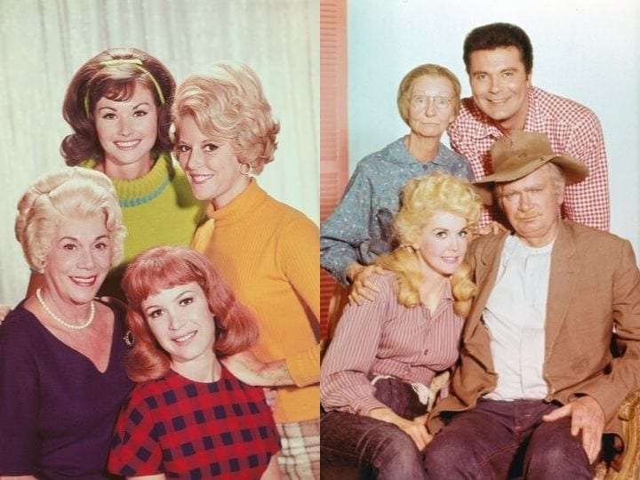Four actresses from the cast of the television series Petticoat Junction (1963-1970) pose for this publicity handout. Standing are Lori Saunders and Meredith McRae. Seated are Kate Bradley and Linda Henning.Irene Ryan (1902 - 1973) as Granny Moses, Max Baer Jr. as Jethro Bodine, Donna Douglas as Elly May Clampett and Buddy Ebsen (1908 - 2003) as Jed Clampett in 'The Beverly Hillbillies', circa 1965.