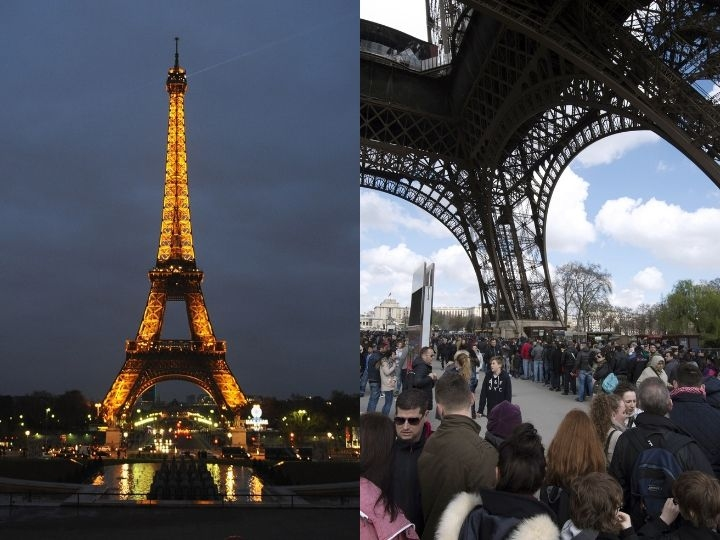 A picture taken on April 5, 2015 shows people queuing to go up to the Eiffel tower in Paris.