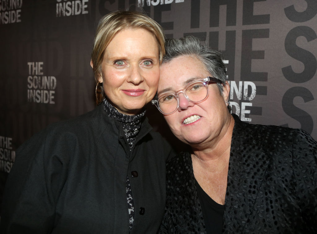 """NEW YORK, NEW YORK - OCTOBER 17: Cynthia Nixon and Rosie O'Donnell pose at the opening night of the new play """"The Sound Inside"""" on Broadway at Studio 54 Theatre on October 17, 2019 in New York City."""
