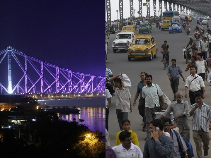 Indian commuters walk across across The Howrah Bridge in Kolkata on June 26, 2010, during a day long transport strike held to protest the fuel price rise. India's government has decided to deregulate petrol prices in a bold economic reform that risks a popular backlash as the country struggles with double-digit inflation
